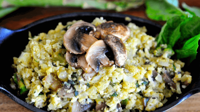 "Cauliflower ""Rice"" Risotto With Asparagus And Mushrooms Recipe"