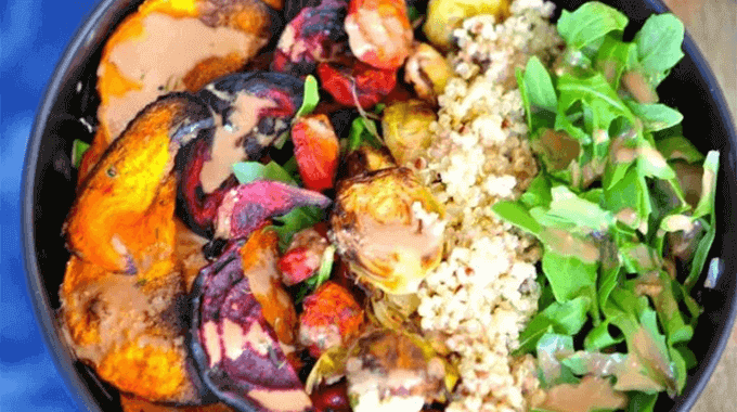 Roasted Veggie Tahini Quinoa Bowl